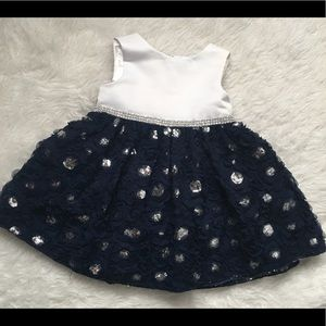 Blue and white sequin toddler baby dress